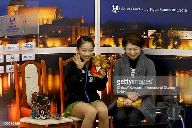 Rin Nitaya of Japan and her coach Yoriko Naruse celebrate the thrid place during the junior ladies free skating of the ISU Junior Grand Prix at...