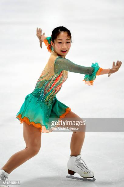 Rin Nitaya of Japan in action during the official practice prior to the Ladies Singles Short Program during day one of the Autumn Classic...