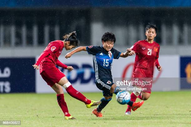 Rina Mehara of Japan in action against Ngoc Le of Vietnam during their AFC U19 Women'u2019s Championship 2017 Group Stage B match between Japan and...