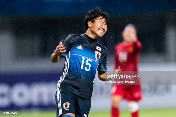 Rina Mehara of Japan reacts during their AFC U19 Women'u2019s Championship 2017 Group Stage B match between Japan and Vietnam at Jiangning Sports...