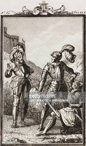 Rinaldo preventing his son Roger from killing Florante engraving by Antonio Viviani from a drawing by G Steneri from Rinaldo of Montalbano Act III...