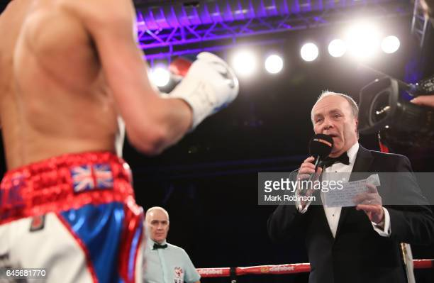 Ring announcer Craig Stephen announces the two fighters Gavin McDonnell and Rey Vargas fight before their for the Vacant WBC SuperBantamweight...
