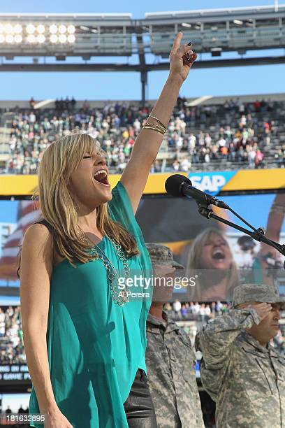 Ring Announcer Lillian Garcia performs the National Anthem when she attends the Buffalo Bills vs New York Jets game at MetLife Stadium on September...