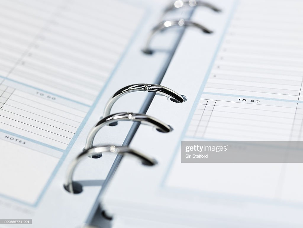 Ring bound diary, close-up : Stock Photo