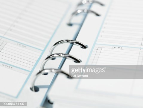 Ring bound diary, close-up : Stock Photo