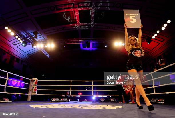 A ring girl during the World Series of Boxing between the British Lionhearts and Mexico Guerreros at York Hall on March 22 2013 in London England