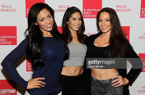 Ring Girls Veronica Rivera Arley Elizabeth and Chanel Urban appear with European Wax Center at the Toe to Toe Canelo vs Angulo super welterweight...