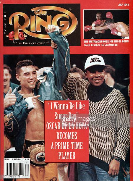 Ring Magazine Cover ' I wanna be like Sugar Ray' Oscar De La Hoya and Sugar Ray Leonard on the cover