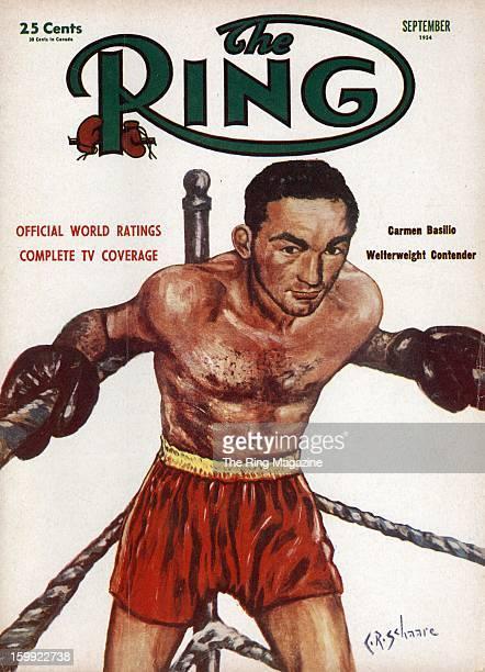 Ring Magazine Cover Illustration of Carmen Basilio on the cover