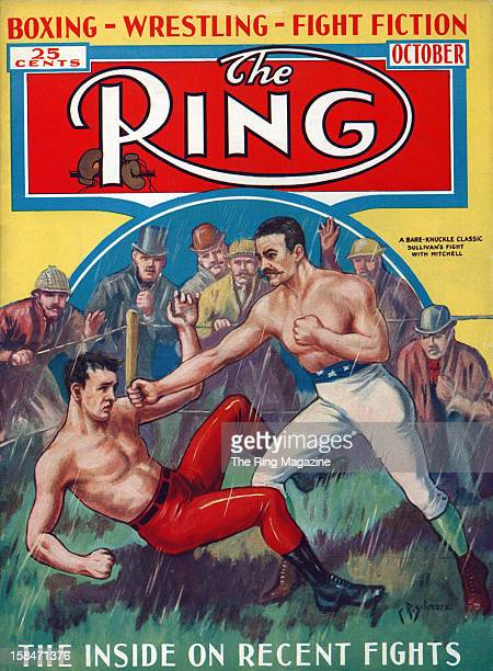 Ring Magazine Cover Illustration of Charley Mitchell and John L Sullivan fight on the cover