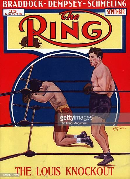 Ring Magazine Cover Illustration of Joe Louis and Max Schmeling on the cover