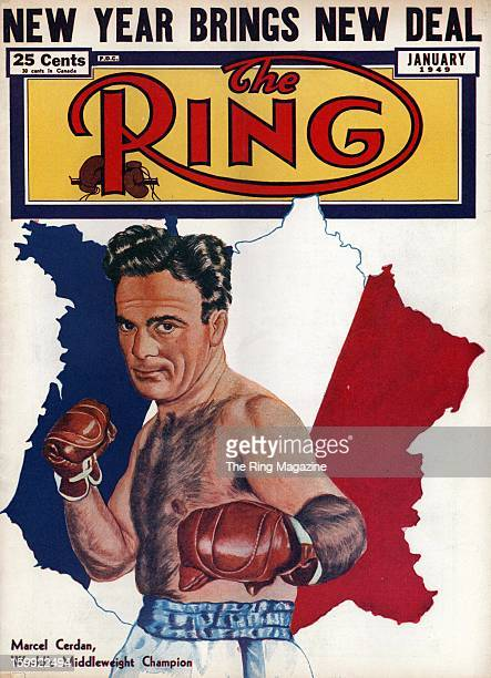 Ring Magazine Cover Illustration of Marcel Cerdan on the cover