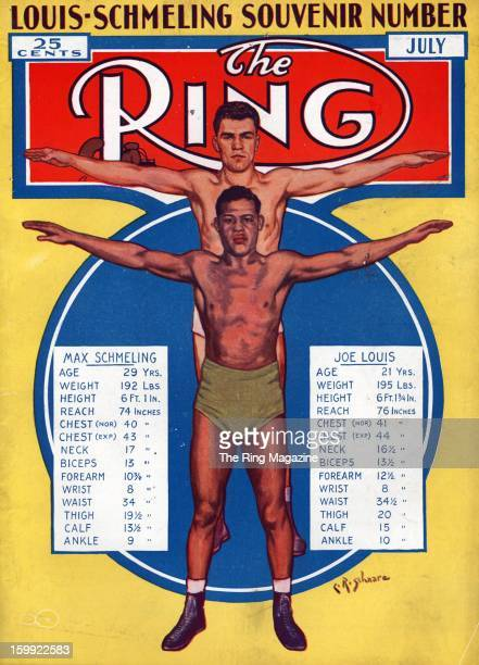Ring Magazine Cover Illustration of Max Schmeling and Joe Louis on the cover
