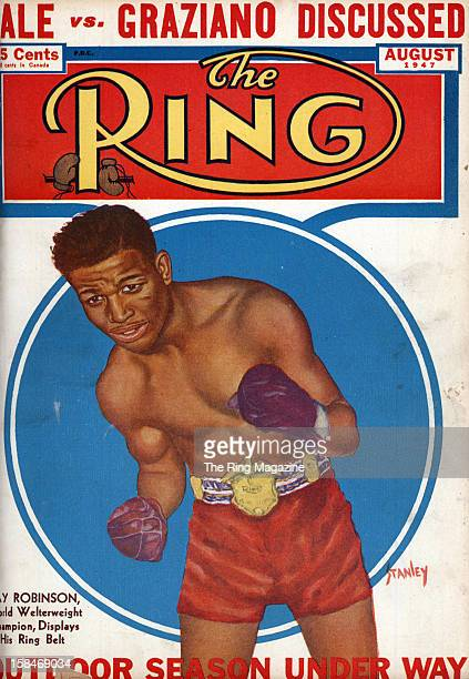 Ring Magazine Cover Illustration of Ray Robinson on the cover