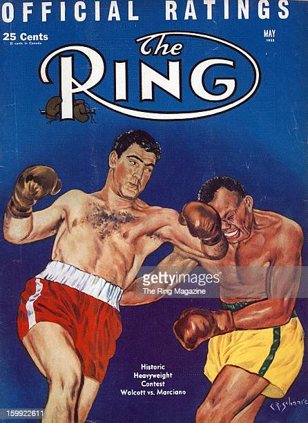 Ring Magazine Cover Illustration of Rocky Marciano and Jersey Joe Walcott on the cover