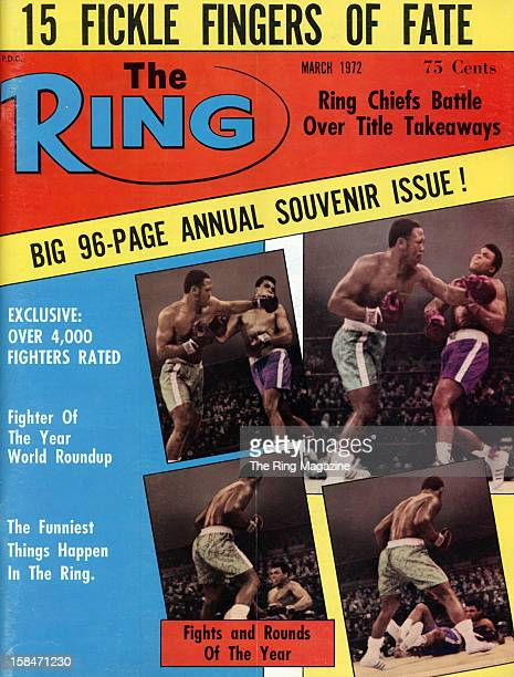 Ring Magazine Cover Joe Frazier and Cassius Clay fight on the cover