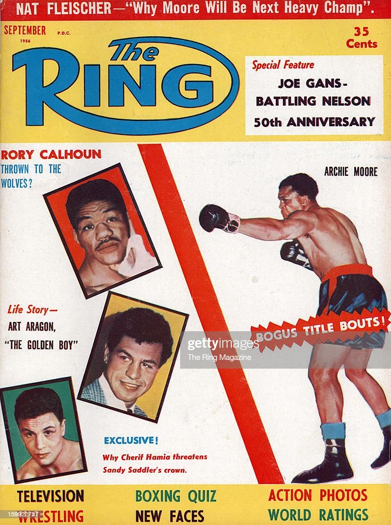 Ring Magazine Cover Rory Calhoun Archie Moore on the cover