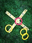 Ring toss game on grass