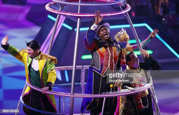 Ringmaster Jonathan Lee Iverson performs in the closing number on the final day of the Ringling Bros Barnum and Bailey Circus on May 21 2017 in...