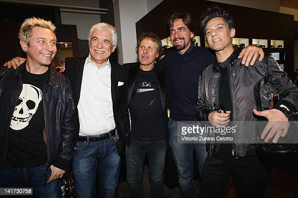 DJ Ringo Gabriele Del Torchio Renzo Rosso Valerio Staffelli and Rosario Fiorello attend the 'Diesel Together With Ducati' cocktail party on March 22...