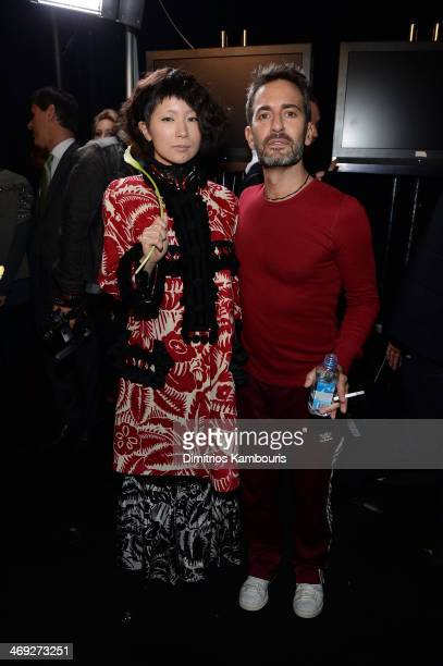 Ringo Sheena and desinger Marc Jacobs speak backstage at the Marc Jacobs fashion show during MercedesBenz Fashion Week Fall 2014 at Lexington Avenue...