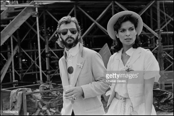 Ringo Starr and Bianca Jagger backstage at 'The Picnic' music festival Blackbushe Aerodrome Hampshire 15th July 1978 Bob Dylan is headlining the...