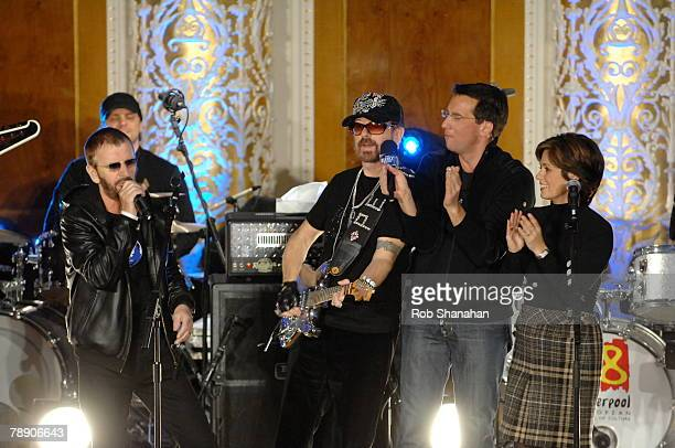 ACCESS *** Ringo Starr and Dave Stewart perform onstage alongside CBS 'The Early Show' television presenters Dave Price and Maggie Rodriguez prior to...