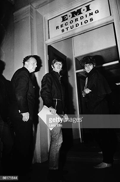 Ringo Starr and George Harrison of the Beatles arrive at the EMI recording studios on Abbey Road 24th November 1966