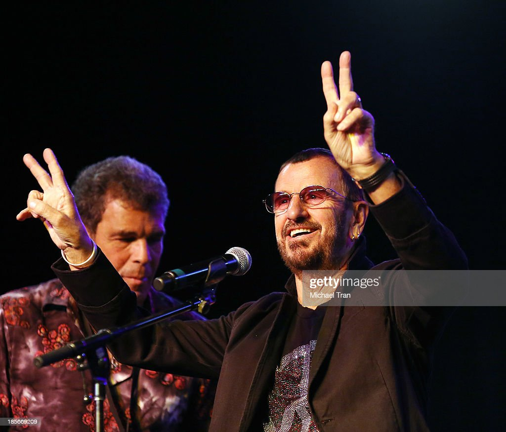 <a gi-track='captionPersonalityLinkClicked' href=/galleries/search?phrase=Ringo+Starr&family=editorial&specificpeople=92463 ng-click='$event.stopPropagation()'>Ringo Starr</a> and his All Star Band announce their Latin America tour press conference held at SIR Studios on October 23, 2013 in Hollywood, California.