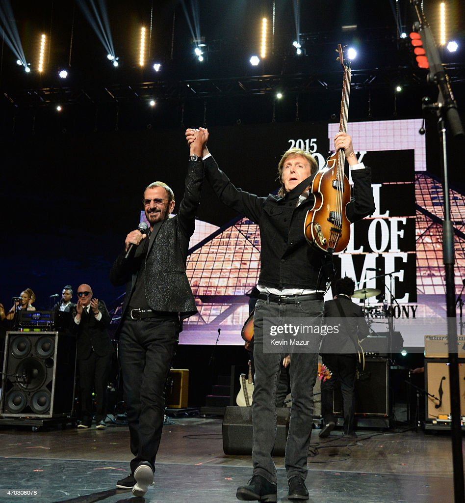 Ringo Starr and Paul McCartney perform onstage during the 30th Annual Rock And Roll Hall Of Fame Induction Ceremony at Public Hall on April 18, 2015 in Cleveland, Ohio.