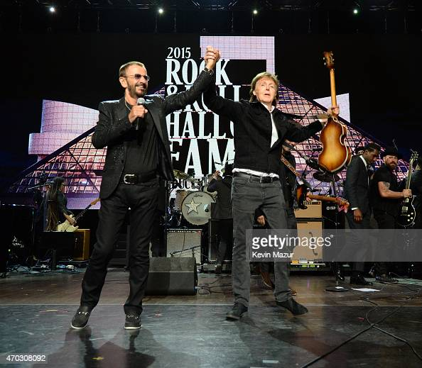 Ringo Starr and Paul McCartney perform onstage during the 30th Annual Rock And Roll Hall Of Fame Induction Ceremony at Public Hall on April 18 2015...