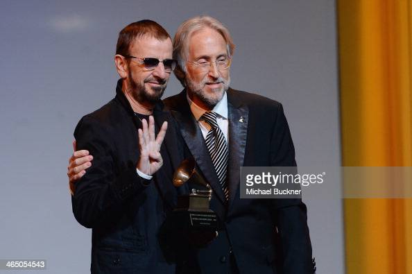 Ringo Starr and The Recording Academy president/CEO Neil Portnow speaks at the Special Merit Awards Ceremony as part of the 56th GRAMMY Awards on...