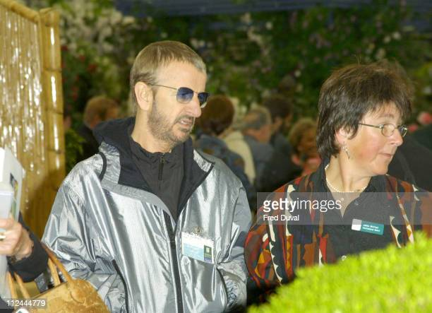 Ringo Starr and wife Barbara Bach during RHS Chelsea Flower Show 2003 at Chelsea in London Great Britain