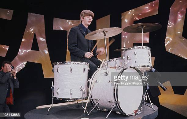Ringo Starr at the drums during a rehearsal for the Beatles' first appearance on the Ed Sullivan Show New York City 8th February 1964