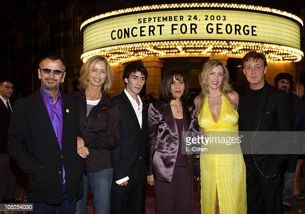 Ringo Starr Barbara Bach Dhani Harrison Olivia Harrison Heather Mills and Paul McCartney at the premiere of 'Concert for George' a new documentary...
