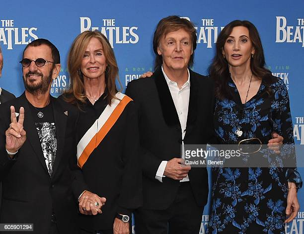 Ringo Starr Barbara Bach Paul McCartney and Nancy Shevel attend the World Premiere of 'The Beatles Eight Days A Week The Touring Years' at Odeon...