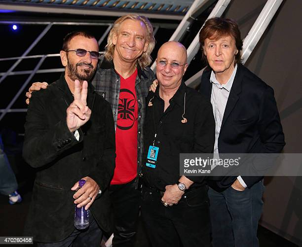 Ringo Starr Joe Walsh Paul Shaffer and Paul McCartney attend the 30th Annual Rock And Roll Hall Of Fame Induction Ceremony at Public Hall on April 18...