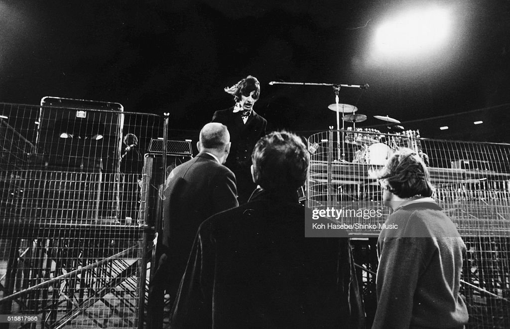 Ringo Starr leaves the stage after the Beatles' last show of their final tour at Candlestick Park San Francisco California August 29 1966
