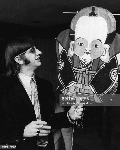 Ringo Starr of The Beatles holding a gift kite during an interview with Japanese music magazine 'Music Life' at Tokyo Hilton Hotel Japan July 2 1966