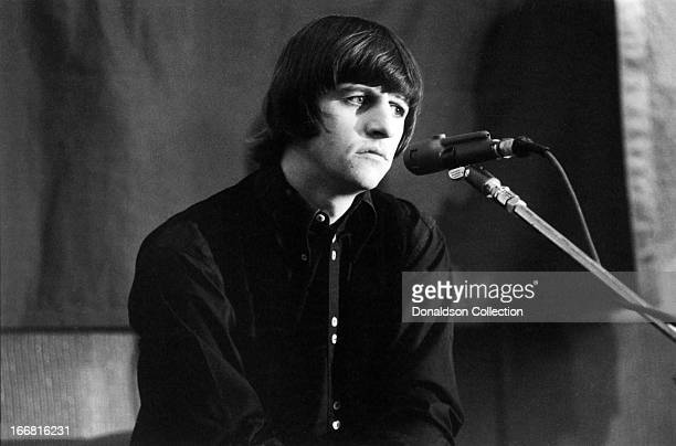 Ringo Starr of the rock and roll group 'The Beatles' at a press conference for the release of their album 'Help' at the Capitol Records Tower Los...