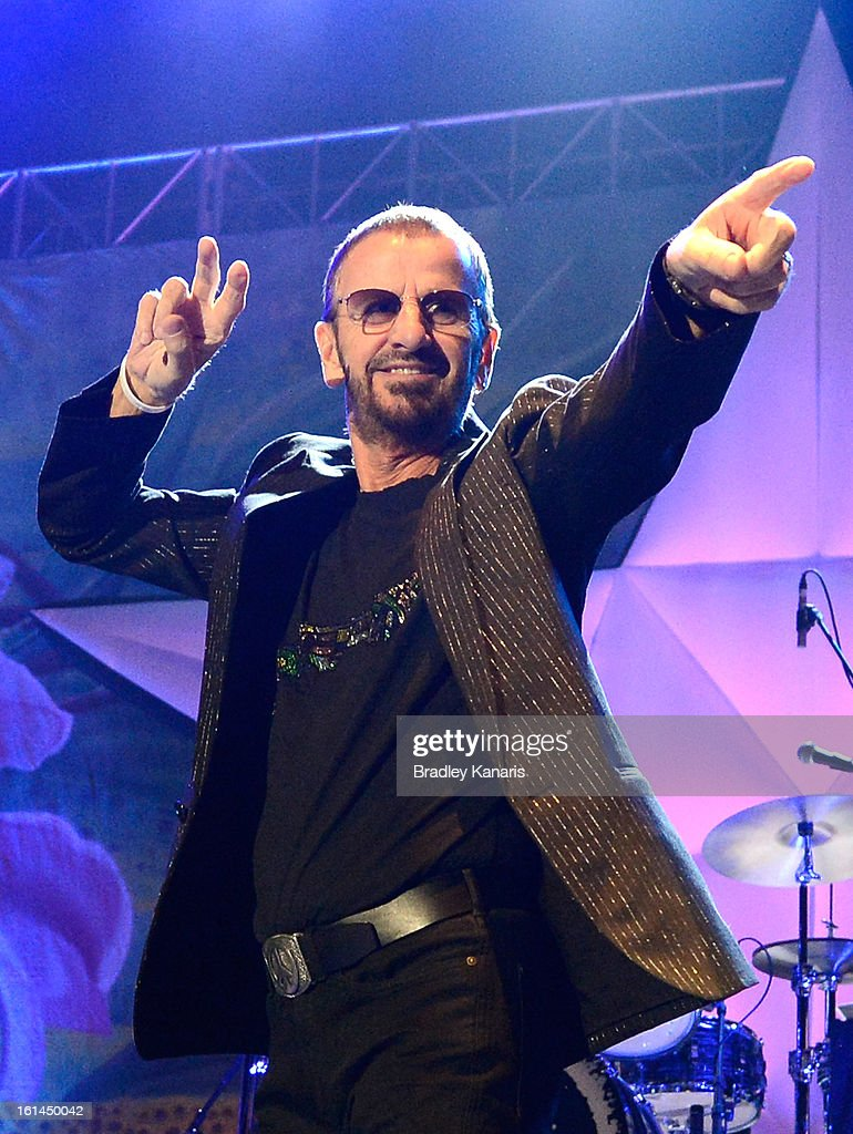 Ringo Starr performs live on stage at the Brisbane Convention & Exhibition Centre on February 11, 2013 in Brisbane, Australia.