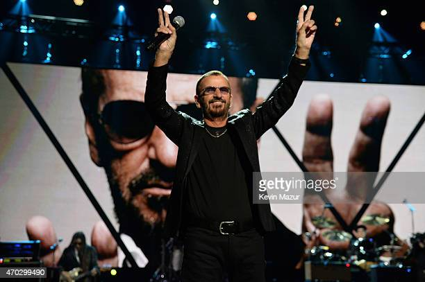 Ringo Starr performs onstage during the 30th Annual Rock And Roll Hall Of Fame Induction Ceremony at Public Hall on April 18 2015 in Cleveland Ohio