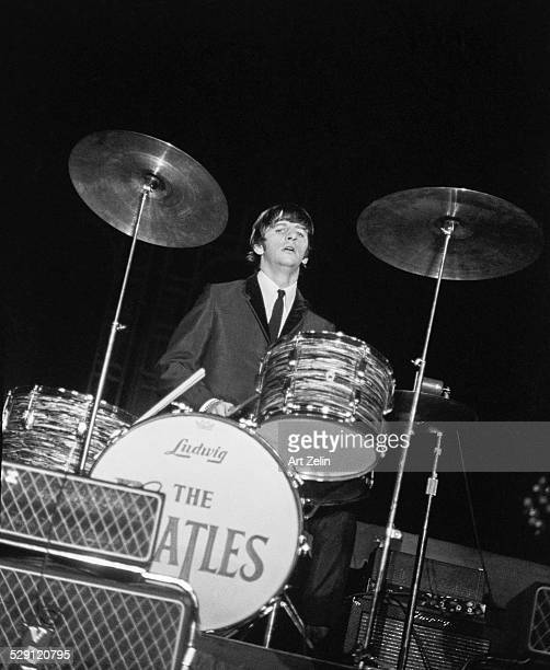 Ringo Starr playing drums on stage with The Beatles circa 1970 New York