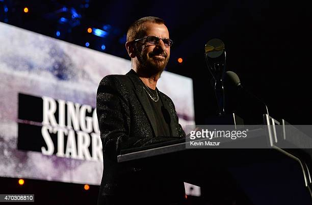 Ringo Starr speaks onstage during the 30th Annual Rock And Roll Hall Of Fame Induction Ceremony at Public Hall on April 18 2015 in Cleveland Ohio