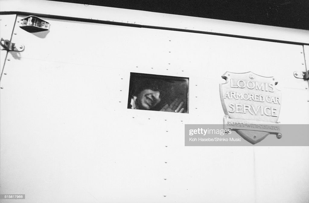 Ringo Starr waving from the window of the armored vehicle after the Beatles' last show of their final tour at Candlestick Park San Francisco...