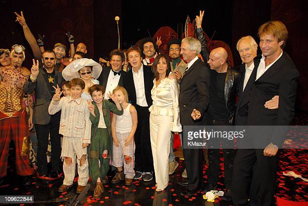 Ringo Starr Yoko Ono Sir Paul McCartney Olivia Harrison Sir George Martin and Giles Martin with Cirque du Soleil 'LOVE' castmembers *EXCLUSIVE*