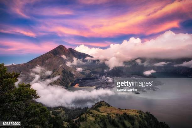 Rinjani mountain and Segara Anak lake at sunset, Senaru crater rim, Lombok island, Indonesia