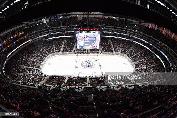 A rink wide photo during the game between the Edmonton Oilers and the Vancouver Canucks on October 8 2016 at Rogers Place in Edmonton Alberta Canada