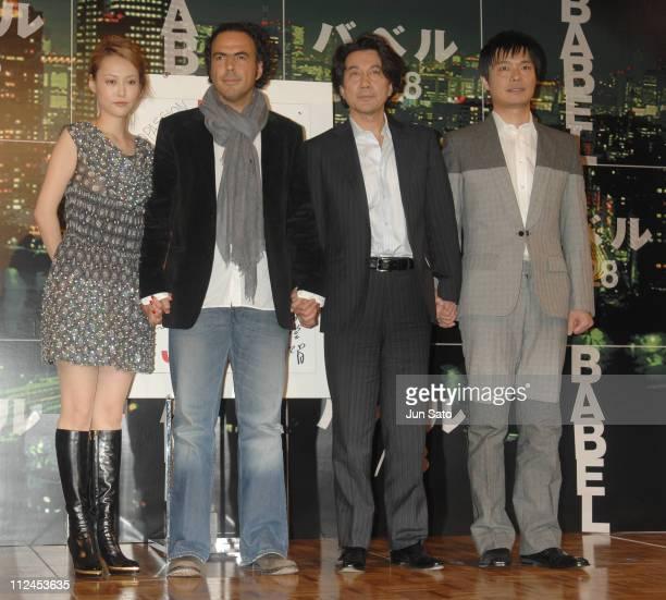 Rinko Kikuchi Alejandro Gonzalez Inarritu director Koji Yakusho and Satoshi Nikaido