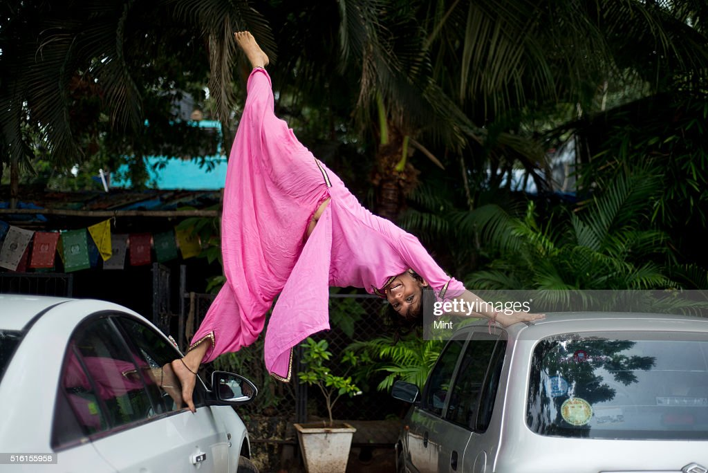 Rinku Suri who overcame health issues through yoga poses in Yoga pose for a profile shoot on June 17 2015 in Mumbai India